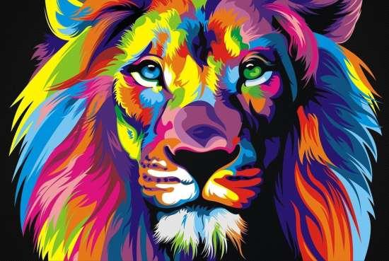 Картина по номерам 40x50 Поп - арт лев из красок. Ваю Ромдони
